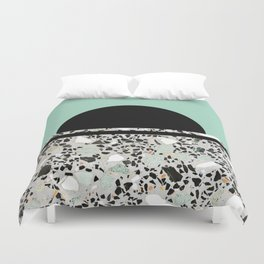 Abstract Concrete and Marble Terrazzo Stone Pastel Green Duvet Cover