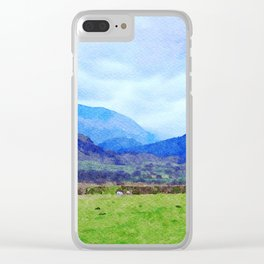 Sheep in Pasture View from Castlerigg Stone Circle, Lake District UK Watercolor Clear iPhone Case