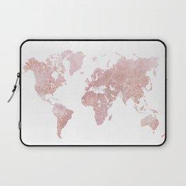Rose Quartz World Map Laptop Sleeve