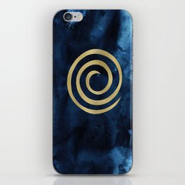 Infinity Navy Blue And Gold Abstract Modern Art Painting iPhone Skin
