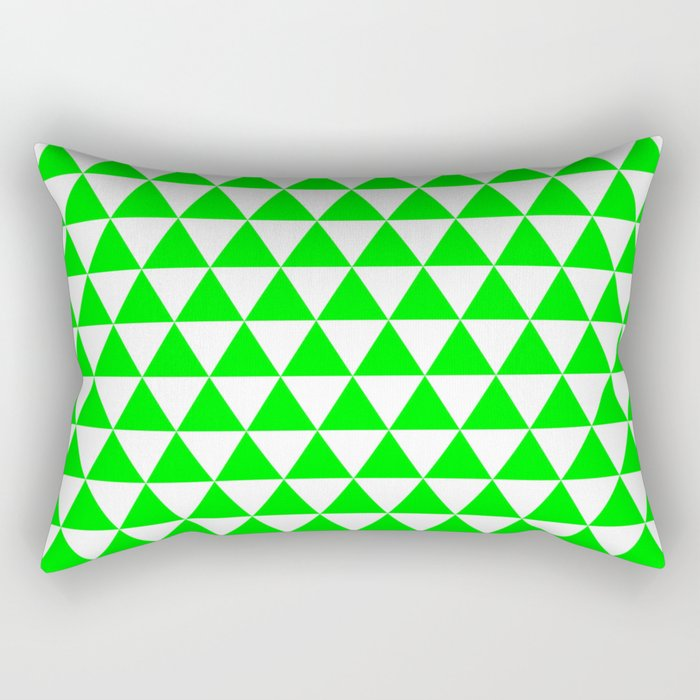 Triangles (Green/White) Rectangular Pillow