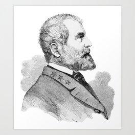 Robert E Lee Portrait Illustration Art Print