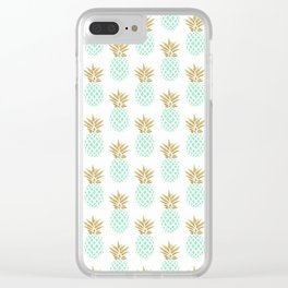 Elegant faux gold tropical pineapple pattern Clear iPhone Case