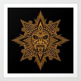 Ancient Yellow and Black Aztec Sun Mask Art Print