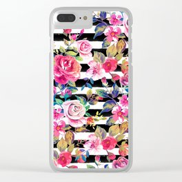 Cute spring floral and stripes watercolor pattern Clear iPhone Case