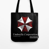 resident evil Tote Bags featuring Resident Evil Umbrella Corporation by Liquidsugar