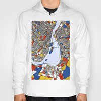 montreal Hoodies featuring montreal map mondrian by Mondrian Maps