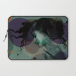"""The Girl and the Moon Burlap Texture"" Laptop Sleeve"