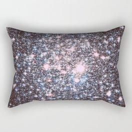 Mauve Pink Blue Silver Sparkle Stars Rectangular Pillow