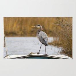 Great Blue Heron on Fishing Boat Rug