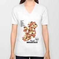 irish V-neck T-shirts featuring Irish Breakfast by JupiterInLove