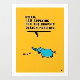 Graphic design pig. Art Print