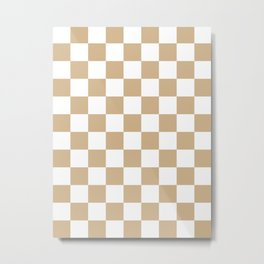 Checkered - White and Tan Brown Metal Print