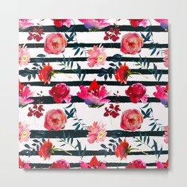 Black white pink floral watercolor stripes pattern Metal Print