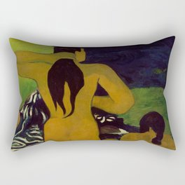 "Paul Gauguin ""Tahitian Women Bathing"" Rectangular Pillow"