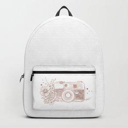 Floral Camera Pink Rose Gold Backpack