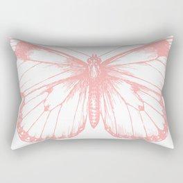 Vintage Pink Butterflly Illustration on Black Background Rectangular Pillow
