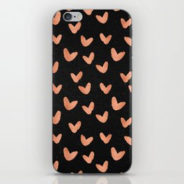 Rose Gold Hearts on Black iPhone Skin