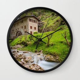 Ancient mill on the river Wall Clock