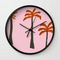 palms Wall Clocks featuring Palms by Georgiana Paraschiv