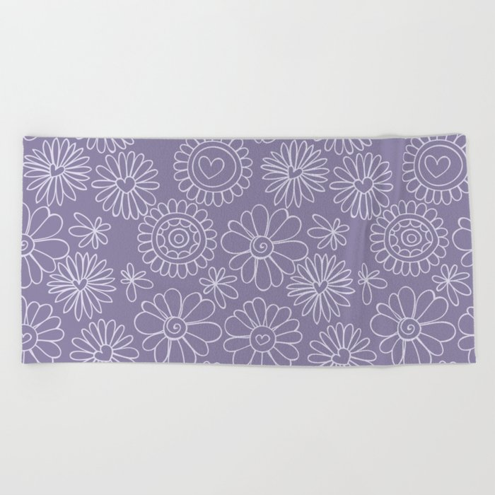 Violet doodle floral pattern Beach Towel