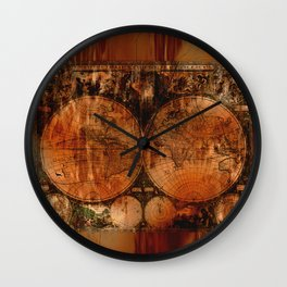 Rustic Old World Map Wall Clock