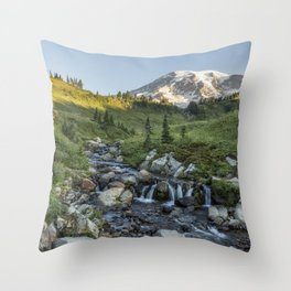 Early Morning Light on Mt Rainier above Edith Creek Throw Pillow