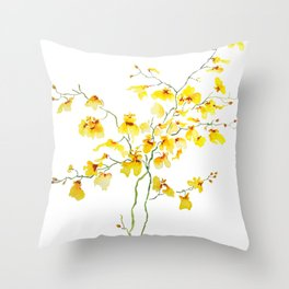 yellow Oncidium Orchid watercolor Throw Pillow