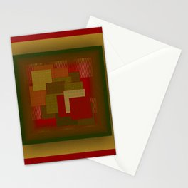 Red Color Geometry Stationery Cards