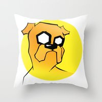 jake Throw Pillows featuring Jake by Shay Bromund