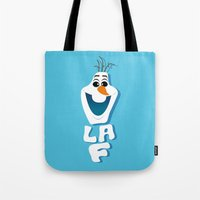 olaf Tote Bags featuring OLAF by Matteo Gaggia Bomber-art
