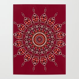 Cozy Cabin (burgundy red) Poster