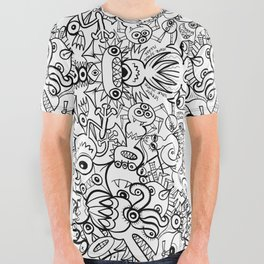 In a world of Doodle Art, monsters and robots spare no effort to survive at any cost All Over Graphic Tee