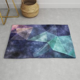 The deep blue sea - Watercolor triangles pattern in blue colors Rug