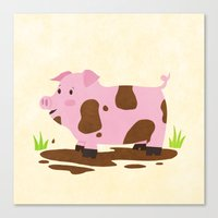 pig Canvas Prints featuring Pig by Claire Lordon