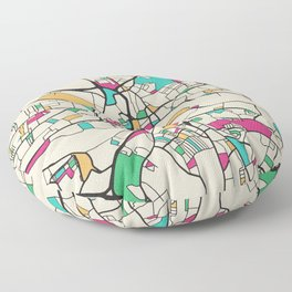 Colorful City Maps: Newcastle upon Tyne, UK Floor Pillow