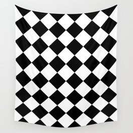 Large Diamonds - White and Black Wall Tapestry