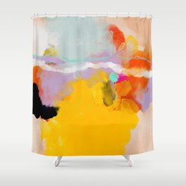 yellow blush abstract Shower Curtain