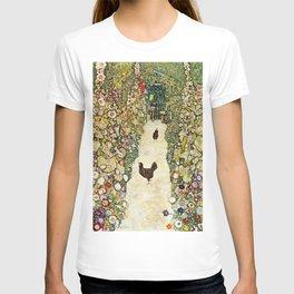 Gustav Klimt Garden Path With Chickens T-shirt