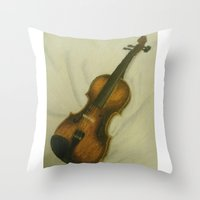 violin Throw Pillows featuring Violin by Camille Anastasia