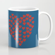 Hearts Heart Red on Navy Coffee Mug