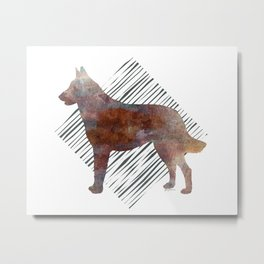 Modern Belgian Malinois Dog Watercolor Stripes Metal Print