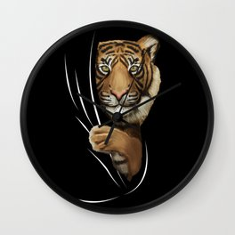 Tiger Animal Coming From Inside Wall Clock