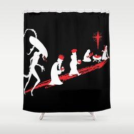 Xenomorph in the Manger Shower Curtain