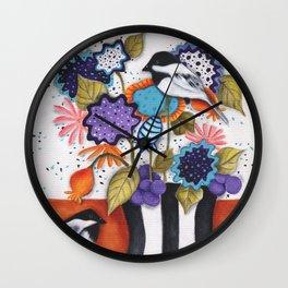 Chickadee Garden Floral Wall Clock