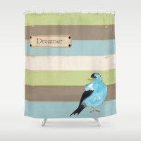 dreamer Shower Curtains featuring Dreamer by Tammy Kushnir