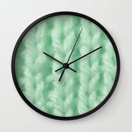Light Green Wool Knitting Texture Wall Clock