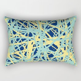 Daisy Scribble Navy, Mint and Lemon Rectangular Pillow