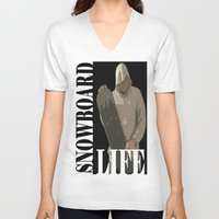snowboard V-neck T-shirts featuring SNOWBOARD LIFE  by Robleedesigns