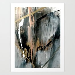01025: a neutral abstract in gold, black, and white Art Print